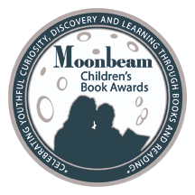 "Moonbeam Children's Book Award seal. Silhouette of a mother and child reading a book against the backdrop of the moon. Text around the rim reads, ""celebrating youthful curiosity, discovery and learning through books and reading."""