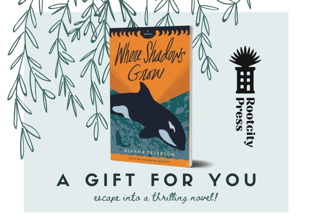 Cover of Where Shadows Grow against a backdrop of hand-drawn leaves. Text reads, A Gift for you. Escape into a thrilling novel!