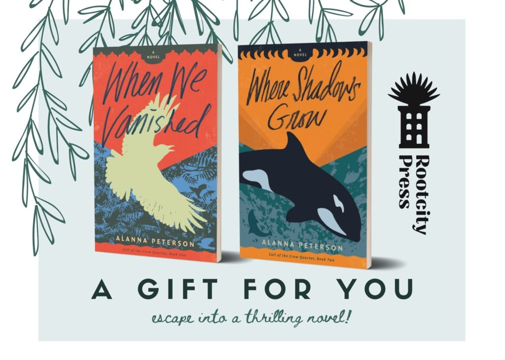 Covers of When We Vanished and Where Shadows Grow against a backdrop of hand-drawn leaves. Text reads, A Gift for you. Escape into a thrilling novel!