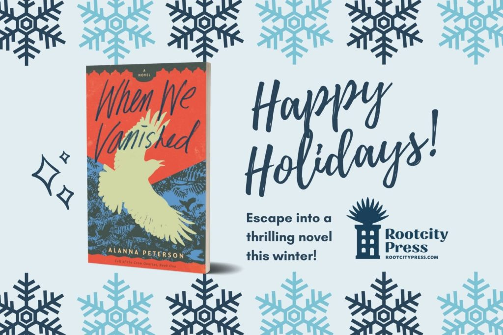 """Cover of When We Vanished against a background with snowflakes. Text reads, """"Happy holidays! Escape into a thrilling novel this winter!"""""""
