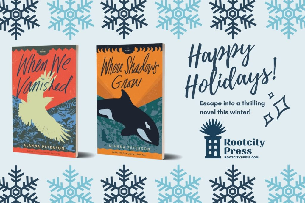 """Covers of When We Vanished and Where Shadows Grow against a background with snowflakes. Text reads, """"Happy holidays! Escape into a thrilling novel this winter!"""""""